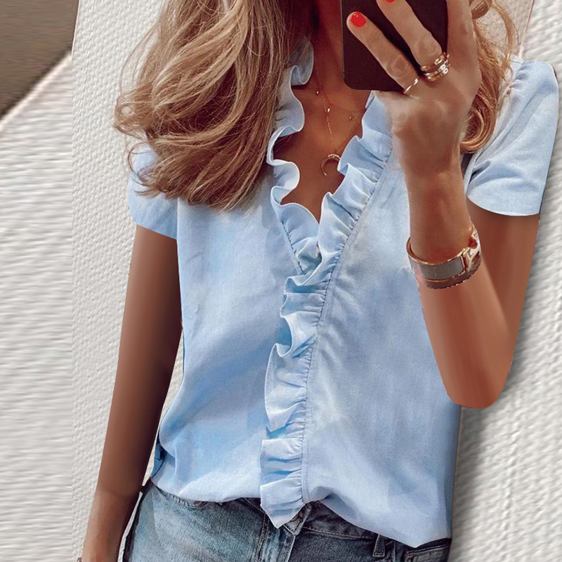 Summer Tops Ladies Blouse Short Sleeves Office Lady Women's Clothing V Neck Solid New Fashion Ruffles Casual Print Female Shirt