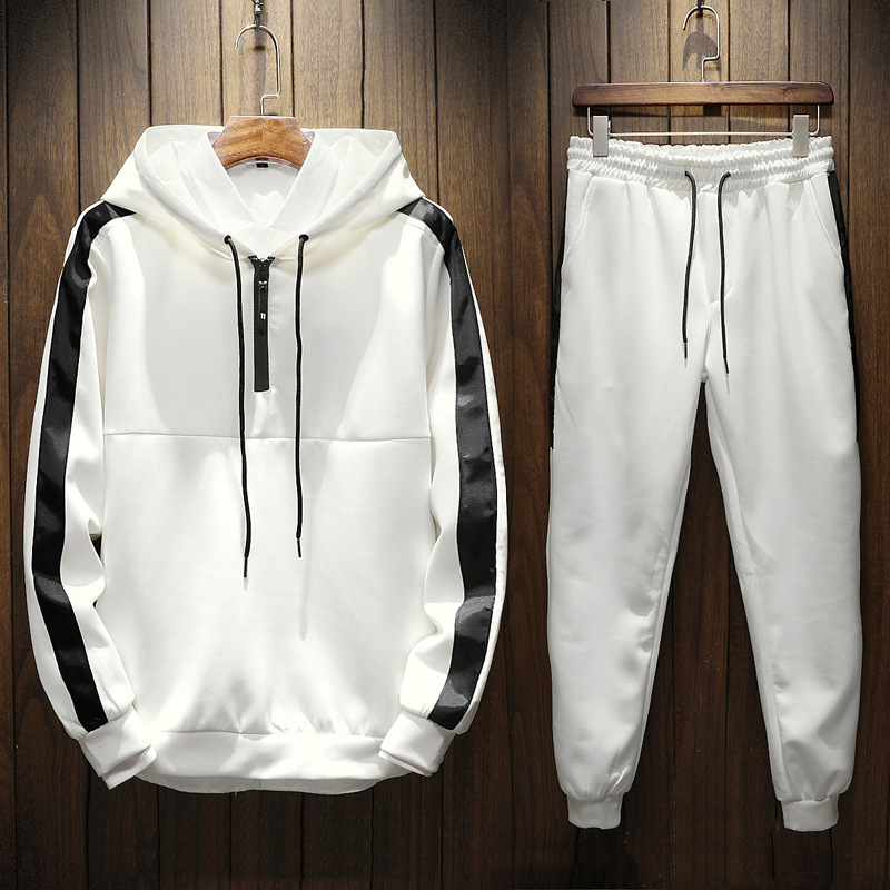 2019 Autumn And Winter New Style Hooded Men Sports Hoodie-Style Mixed Colors Casual Hoodie Suit Contrast Color Large Size