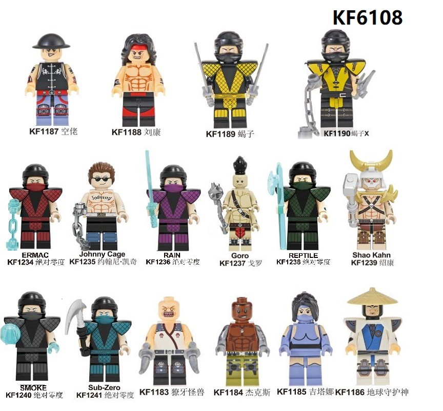 Single Sale Mortal Kombat Building Blocks Sub-Zero Johnny Cage Goro Shao Kahn Baraka Jax Kitana Figures For Children Toys KF6108