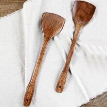Кухонная кухонная утварь деревянная лопатка Деревянная Лопатка деревянная лопатка кухонный инструмент для антипригарной сковороды рисовая ложка 4