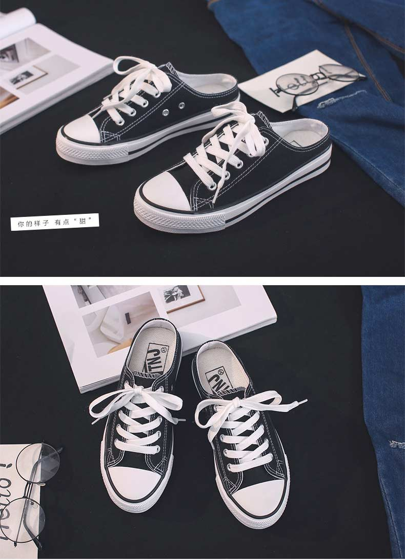 Casual half-drag canvas shoes woman 2019 new fashion solid sneakers women vulcanized shoes lace-up no heel lazy shoes flats (13)