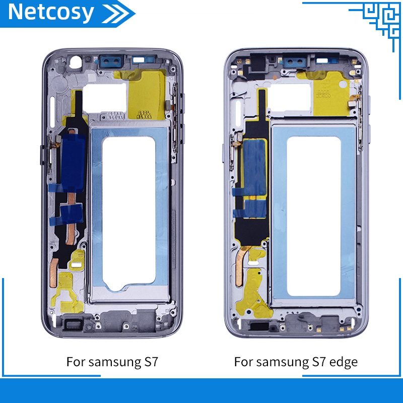 Netcosy For Samsung S7 S7 edge Housing Middle Frame Bezel Middle Plate Cover replacement part For Samsung s7 G930 S7 Edge G935 image