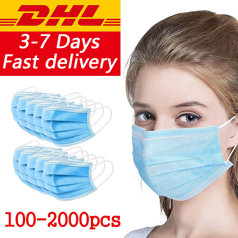 DHL Ship100/200/300/500/1000/2000/5000pcs Disposable Mouth Masks Protective Blue Earloop Face Masks Disposable Mask Wholesale