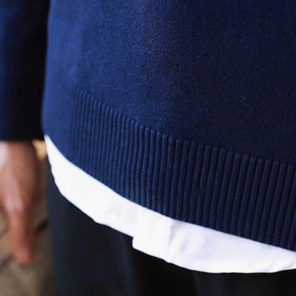 봄 남성 솔리드 컬러 V 넥 긴 소매 슬림 풀오버 플러스 사이즈 니트 스웨터