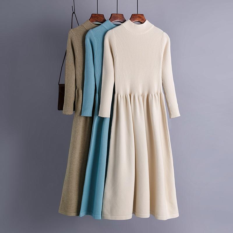 Вязаное элегантное женское платье свитер, осенне зимнее плотное теплое длинное платье миди, элегантное однотонное офисное женское платье свитер трапециевидной формы|Платья| | АлиЭкспресс