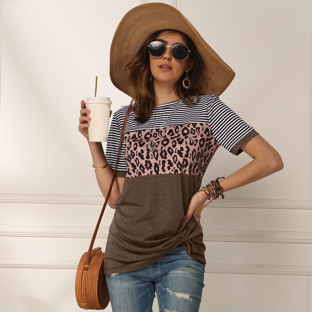 Casual Leopard Printed T Shirt Women Short Sleeve Striped O-Neck Loose Spring Summer Tee Shirt Tops Female Camisa Feminina 2020