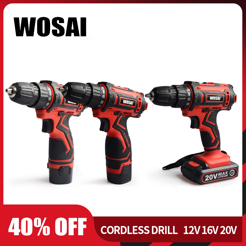 WOSAI 12V <font><b>16V</b></font> 20V Cordless Drill Electric Screwdriver Mini Wireless Power Driver DC Lithium-Ion <font><b>Battery</b></font> 3/8-Inch image