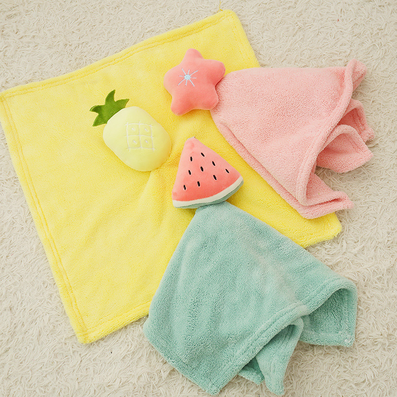Handkerchief Children Towel Hanging Thickened Toilet Cartoon Cute Virus Wash Hands  Pocket Scarf  Silk Handkerchief