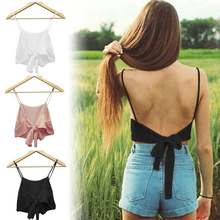 ZANZEA Sexy Camis Vrouwen Slim Crop Tops Backless Camis Zomer Effen Zwart Wit Tank Tops Dames Lace Up Bow Tie crop Tops Vest(China)