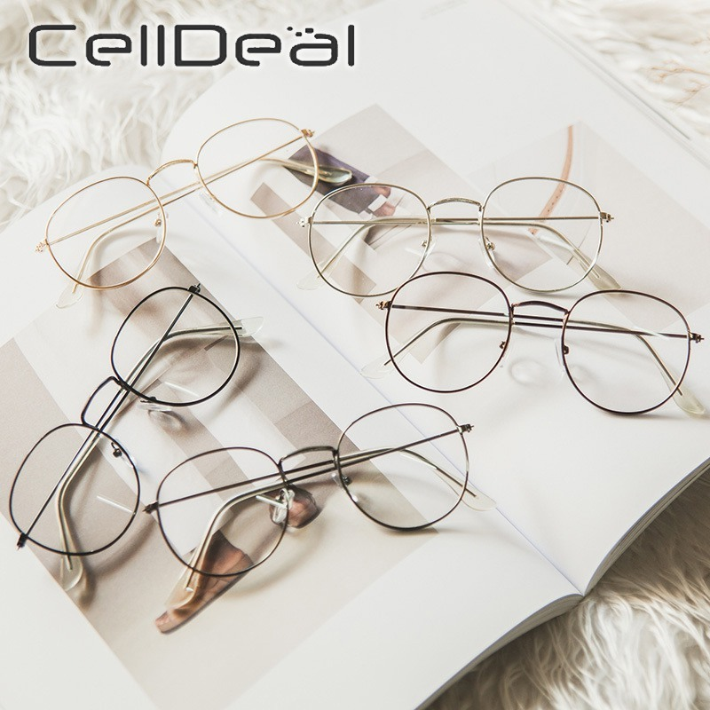 Vintage Round Glasses Frame Retro Clear Fake Glasses Plain Clear Lens Eyeglasses Eyewear Eye Glasses Frames Unisex Accessories