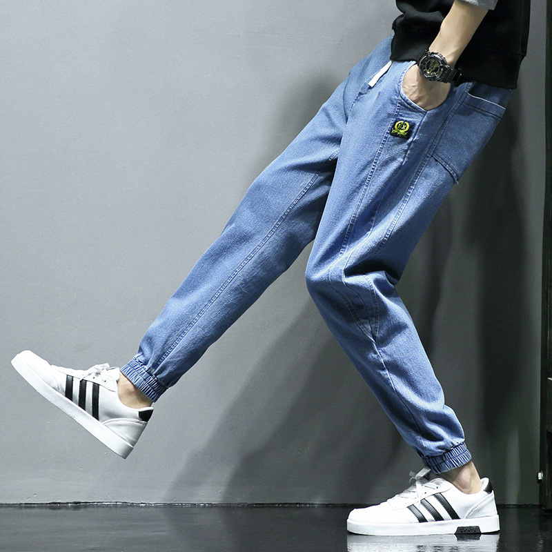 19 Spring And Autumn New Style Men's Loose-Fit Jeans Youth Trousers Korean-style Elasticity Casual Fashion Pants