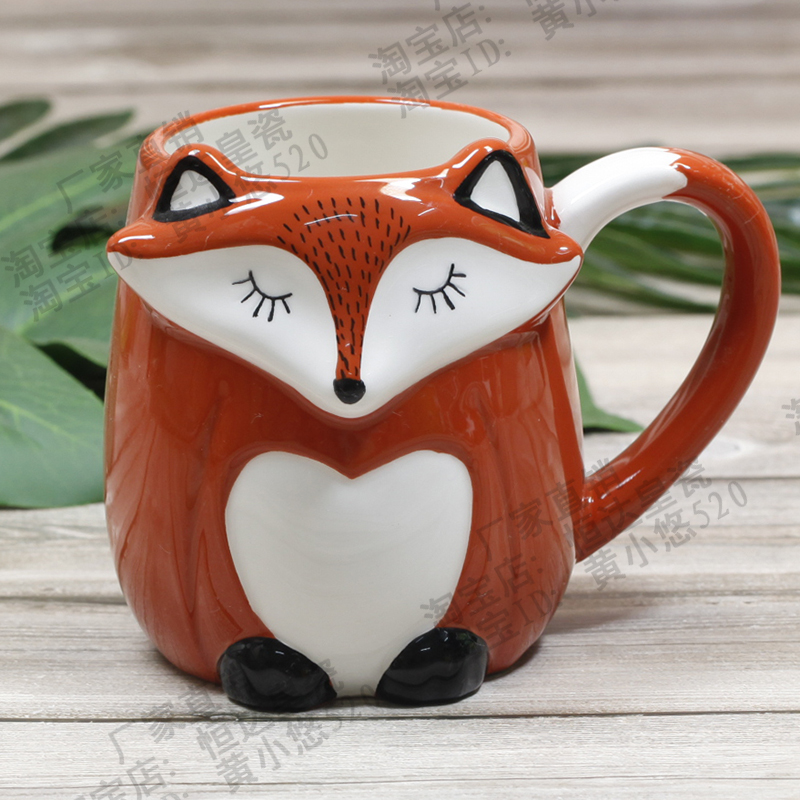 500ml Cute Animal 3d Fox Coffee Cup Large Capacity Hand Painted Cartoon Ceramics Breakfast Milk Mug Free Shipping Mugs Aliexpress