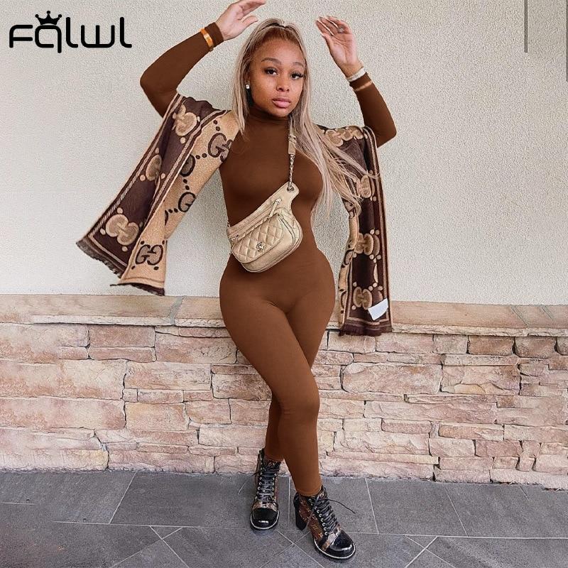 FQLWL зимний коричневый пикантный Облегающий комбинезон с длинным рукавом женский комбинезон цельный наряд водолазка белый черный комбинезо...