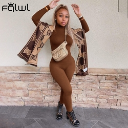 FQLWL Winter Long Sleeve Brown Sexy Bodycon Jumpsuit Women Romper One Piece Outfit Turtleneck White Black Jumpsuit Female Ladies