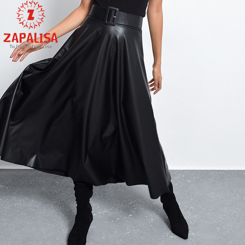 Zapalisa Streetwear Black Skirts Women Winter Long Skirt Fashion Sashes Decor Big Swing Pleated Skirt High Waist Leater Skirt image