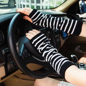 Image 4 - Модные длинные женские перчатки, эластичные вязаные полосатые перчатки без пальцев, женские теплые мягкие перчатки для вождения