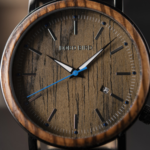 Image 3 - Mens Watches BOBO BIRD Quartz Wristwatch Man Male Metal leather Show date Promotion sale montre homme Christmas anniversary gif