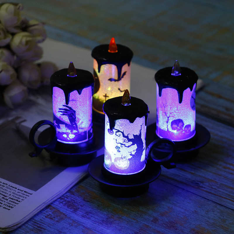 1pc Multicolor LED Candle Lamp Simulation Flame Flashing with Battery Tea Light Home Halloween Party Decor 3.3x2.7in