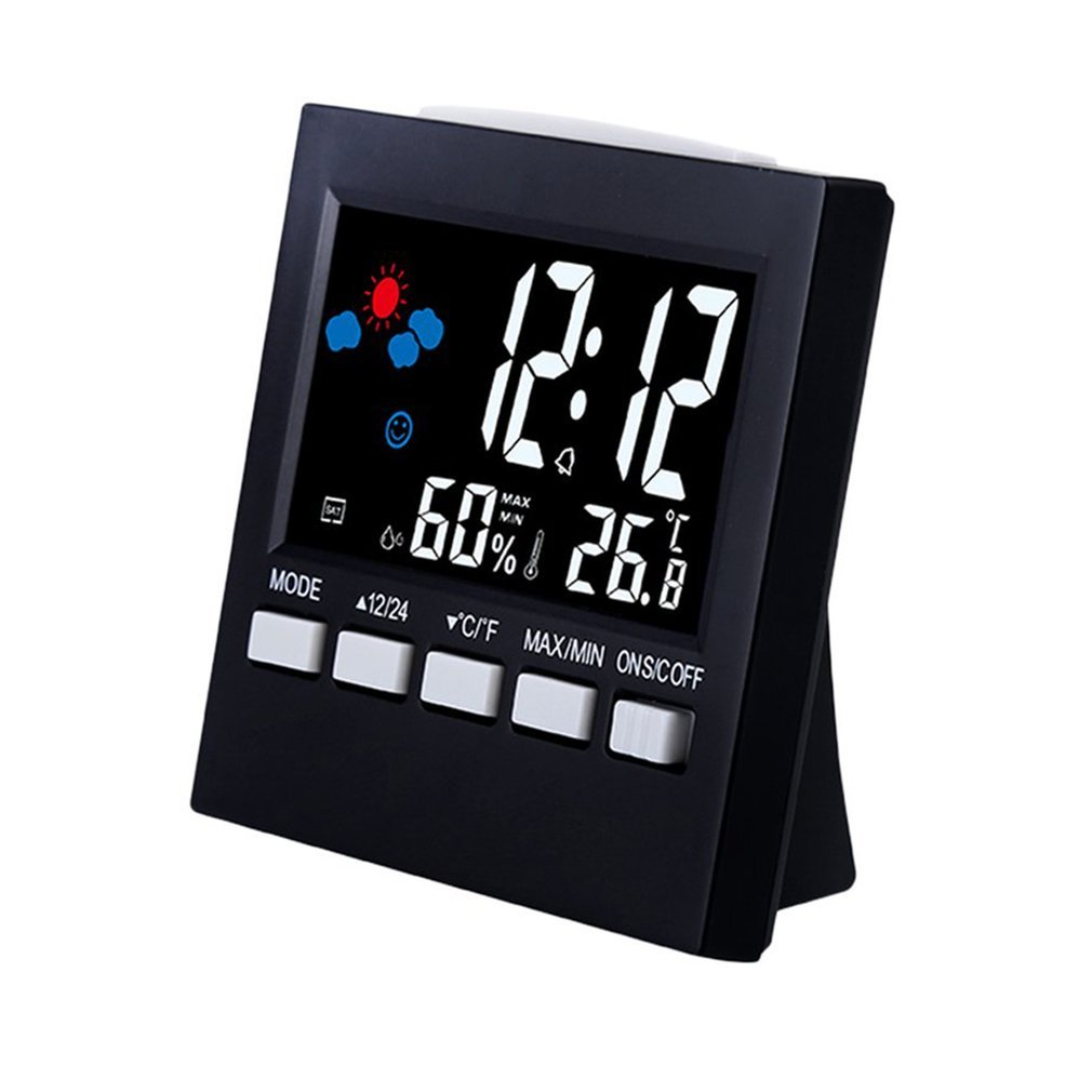 Digital Weather Forecast Station Alarm Clock Kids LCD Screen Temperature Humidity Backlight Monitor Snooze Function TSLM1