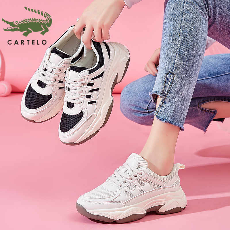 CARTELO fashion comfortable women's shoes wild thick bottom sports casual shoes lace up student white shoes women