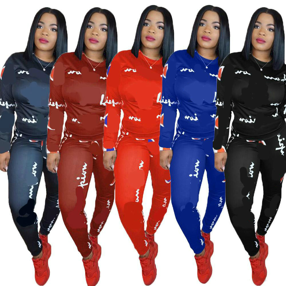 Women Tracksuit Letter Two Piece Set Top And Pants Plus Size Outfits Sweatsuit Outfit Letter Print Active Sets