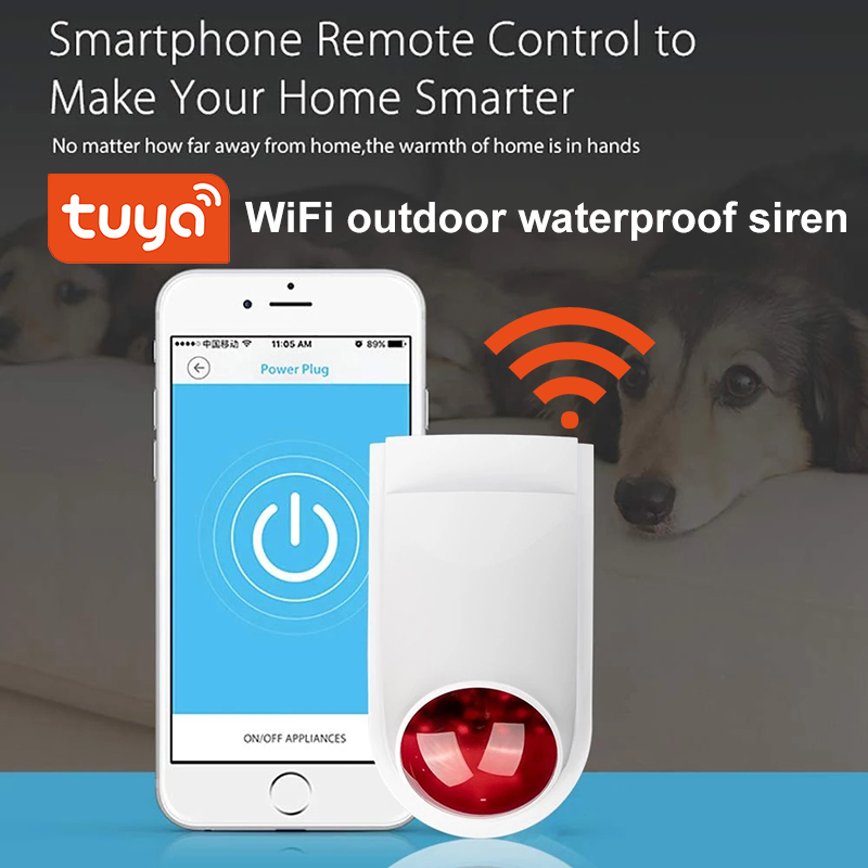 WiFi Tuya Alarm Siren Sensor 130DB Wireless Outdoor Waterproof Siren Sound  Smart Life App Home Security Systems Alexa Google