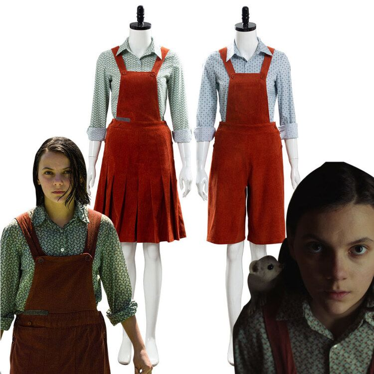 Movie His Dark Materials Lyra Cosplay Costume Outfit Adult Female Halloween Carnival Costumes women Girls Red Dress suit