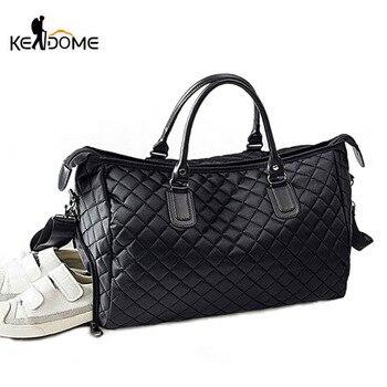 Bolsas de zapatos de gimnasio con entramado de diamantes, bolsa de deporte para mujer, bolsa de equipaje de viaje con hombro al aire, bolsos de nailon negro XA745WD