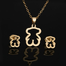 Золотой цвет ожерелье из нержавеющей стали серьги Ювелирные наборы Медвежонок крест Клевер ожерелье наборы для женщин никогда не выцветае...