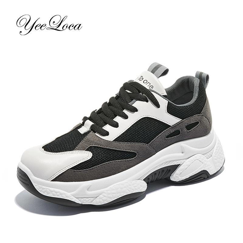 Women's Chunky Sneakers 2019 Fashion Basket Femme Women Platform Shoes Black Female Trainers 6CM High Heel Dad Casual Shoes