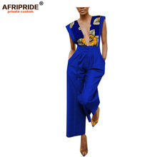 2018 african print casual jumpsuit for women ARIPRIDE sleeveless ankle length wid leg 100% batik cotton A1829006
