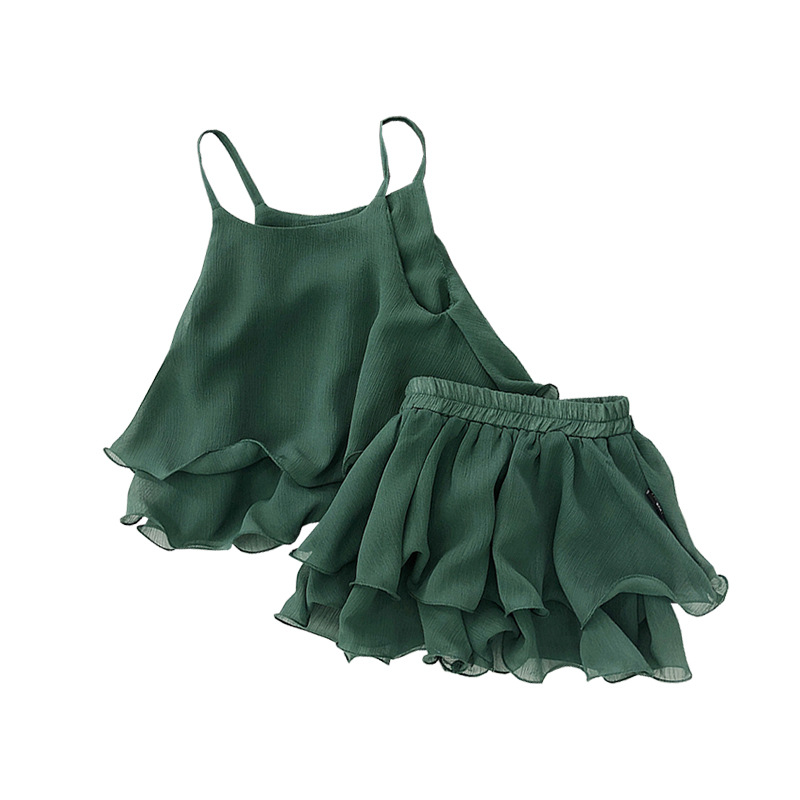 Y039 Children Clothing Set Girls Summer Fashion Sets Child Baby Chiffon Wavy Sling Sets Thin Green