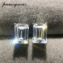 PANSYSEN marka prostokąt utworzono Moissanite diamentowe kolczyki sztyfty dla kobiet czysta 925 srebrny kolczyk Lady biżuteria prezent