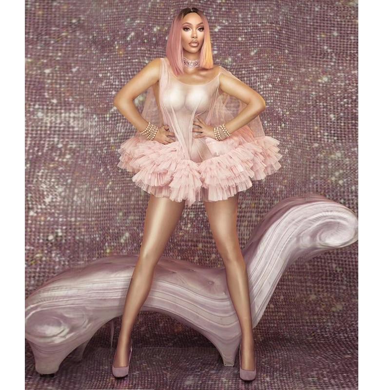 2019 Sexy scène et danse vêtements rose vif Balle bulle robe Costume pure maille Mini robe Sexy Club robes discothèque Vestidos