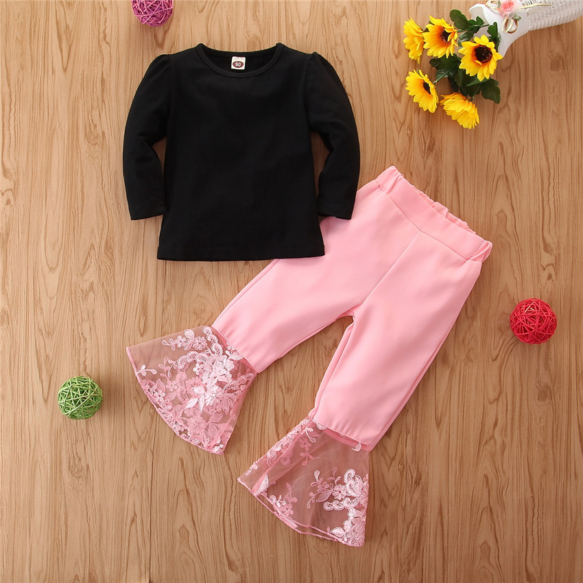 Spring Long-sleeved Suit Black T-shirt Pink Lace Flared Pants Fashion Solid Color Inner Suit Girls Clothes