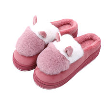 Winter Home Slippers Women Shoes Warm Cotton Sheep Fabric Slipper Indoor Mute Non-slip Flat Shoes Fur Slides zapatos de mujer(China)