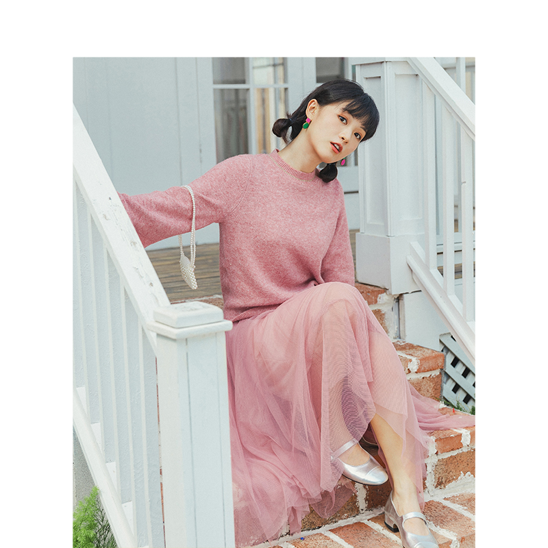 INMAN 2020 Spring New Arrival Retro Fashion Elegant O-neck Loose Knitted Dress Women Two Pieces Suit