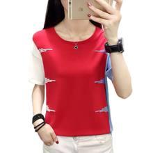 Color Matching Knitted T Shirt Women Pink 2021 Summer Fashion Short Sleeve T-Shirt Casual Woman T-Shirts Tops Roupas Femininas