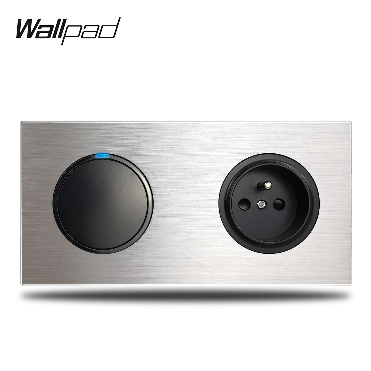 Wallpad 1 Gang Light Switch with French Wall Electrical Power Socket Silver Brushed Aluminum Alloy Panel Dual Plate