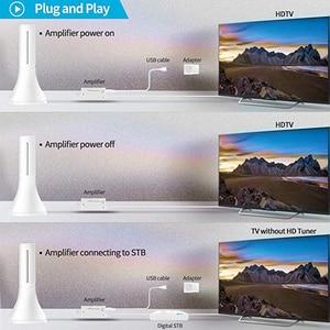 Image 5 - 2019 antenne numérique HDTV dintérieur Portable 80 120 Miles longue portée avec amplificateur Signal Booster pour 4K VHF chaînes de télévision locales