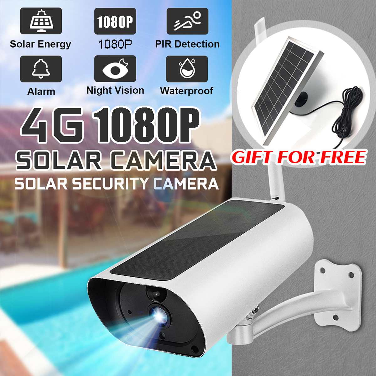 Waterproof HD 1080P Solar Camera Infrared Night Vision 4G Intelligent Real-time Monitoring Voice Intercom Alarm Device