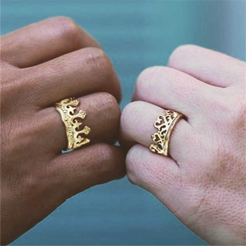 Fashion Vintage Couple Ring Men Gold Silver Black Man Women Rings Couple Engagement Ring Wedding Promise Rings Lover For Men Gif