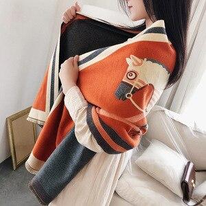 Image 4 - Роскошный брендовый шарф для женщин, модные шарфы и накидки с принтом лошади, толстые теплые кашемировые шарфы, зима 2020, Пашмина, большой шарф