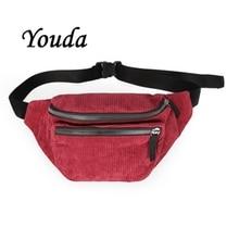 Waist-Bag Corduroy Women Fanny-Pack Travel Girl Sport Designer Fashion Youda