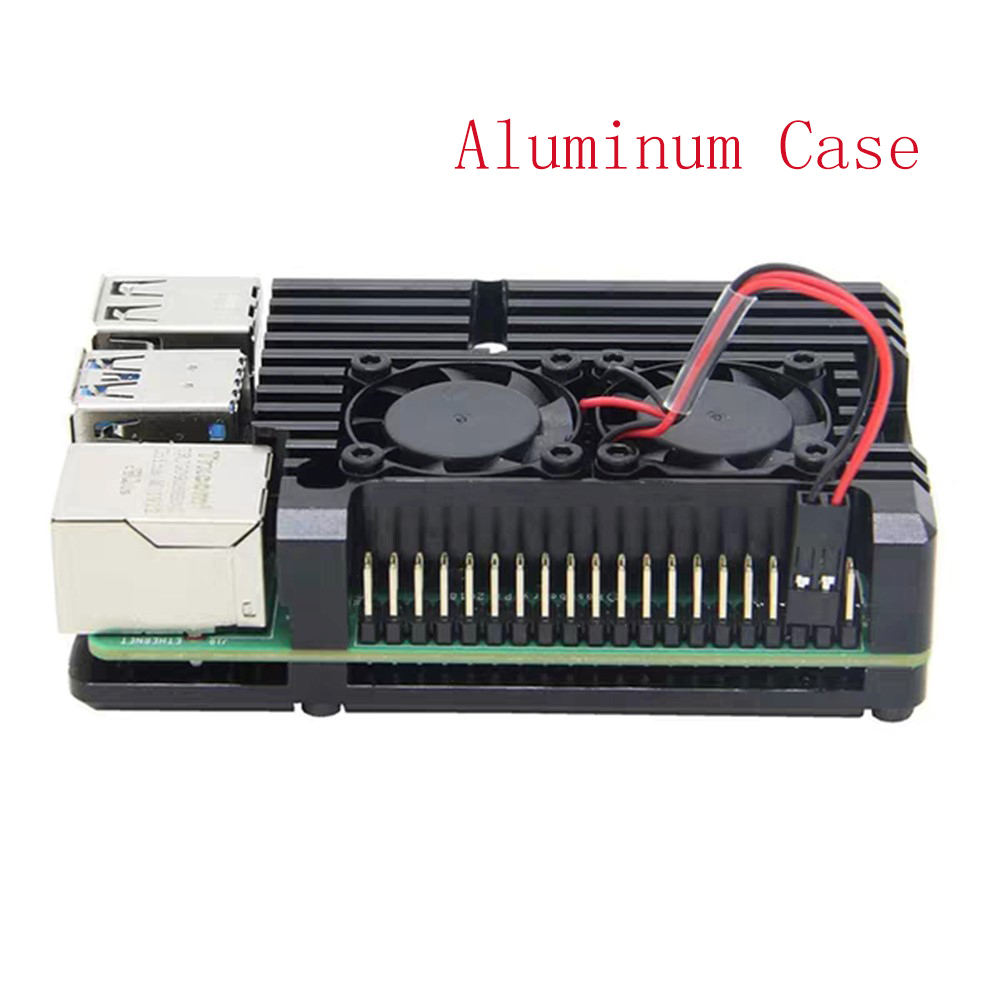 Raspberry Pi 4 Model B Case Cooler Aluminum With Dual Cooling Fan Heat Sink Metal Shell Black Enclosure For Raspberry Pi 4B