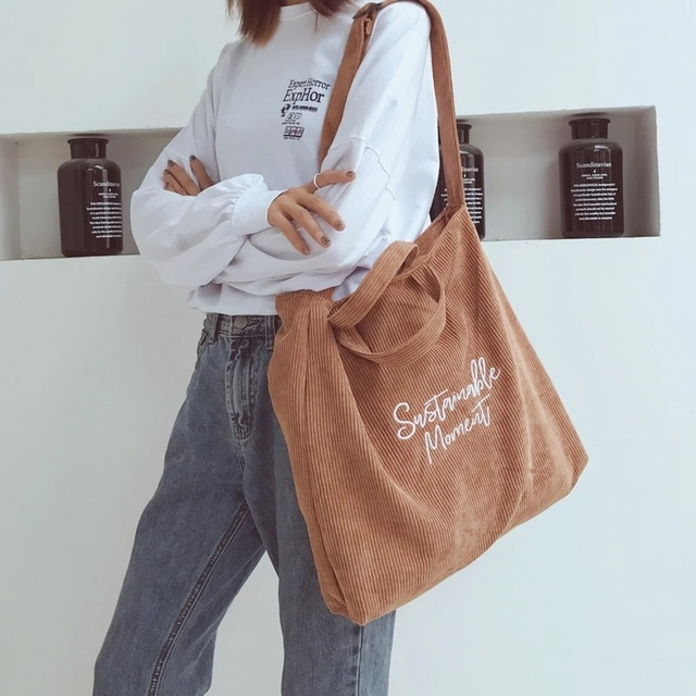 Women Corduroy Shoulder & Crossbody Bags Female Eco Cloth Handbag Large Capacity Zipper Totes Soft Embroidery Messenger Bag 1
