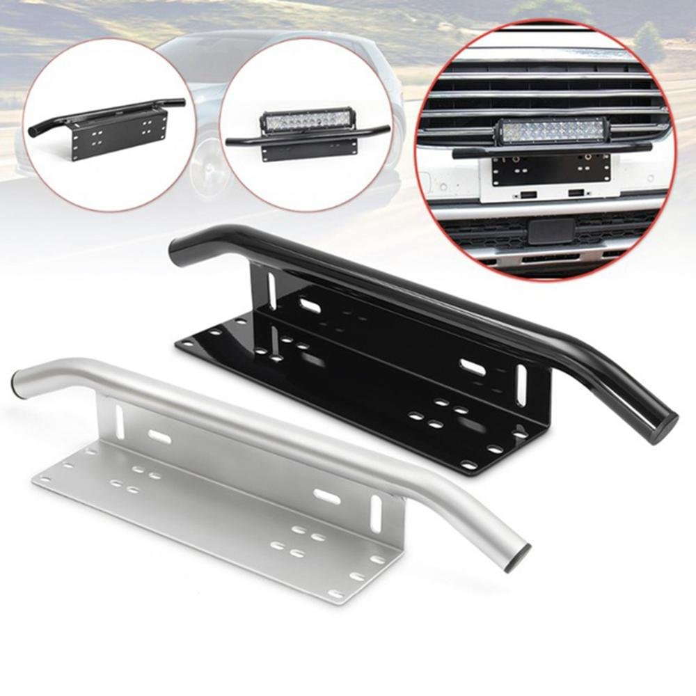 Car Offroad Light Holder License Plate Silver Aluminum Bull Bar Front Bumper Tail Light Mount Bracket Work Lamp Holder