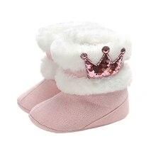 2020 мода новорожденный ребенок девочки корона кашемир плюш детская кроватка зима сапоги теплые обувь мода снег сапоги дети обувь оптовая продажа