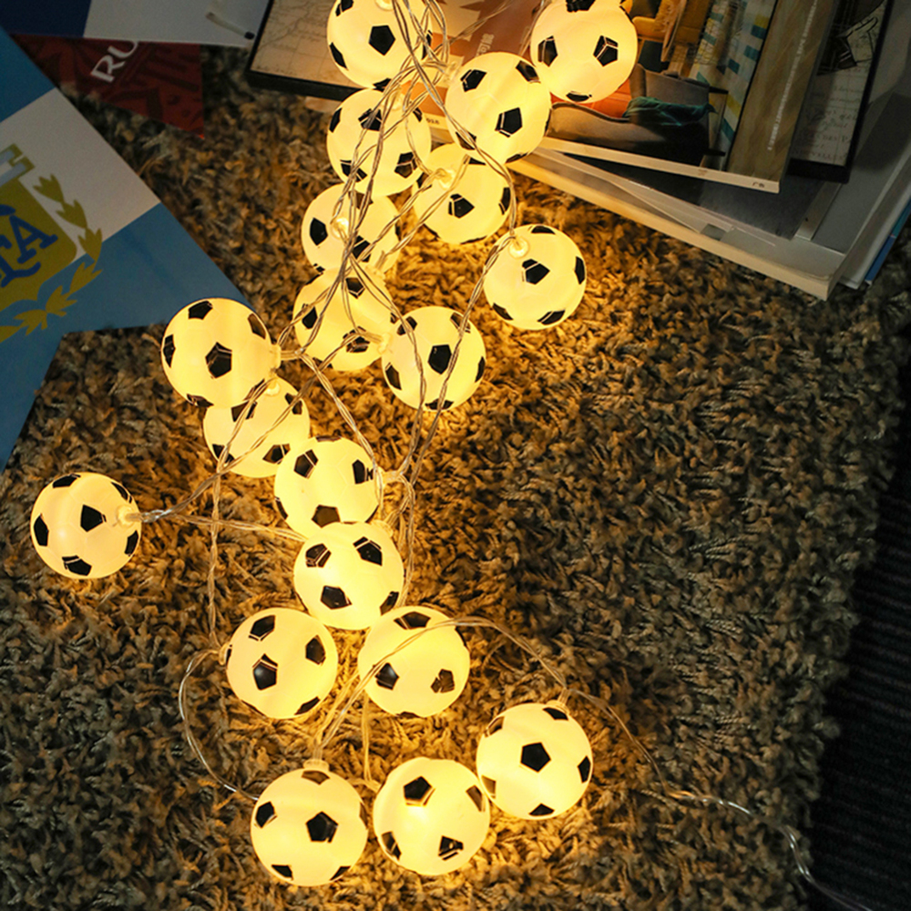 Soccer Warm White Fairy Lights Garlands10 LED Football 1.5 M String Lights Plastic For Home Kids Party Decoration Garlands Deco