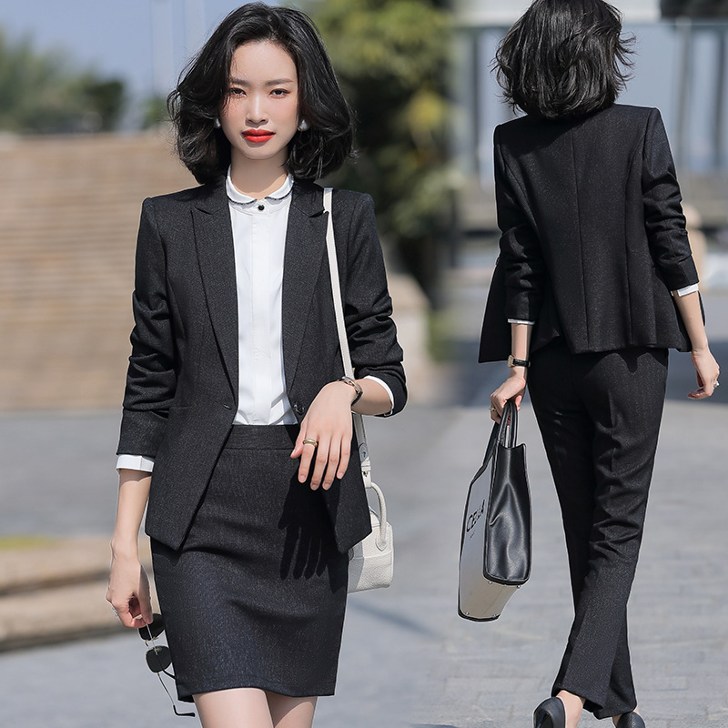 Black Formal Skirt Suits Women Business Work Jacket  Set Fashion Blazer Office Lady OL Female Clothing Long Sleeve 2 Piece Set
